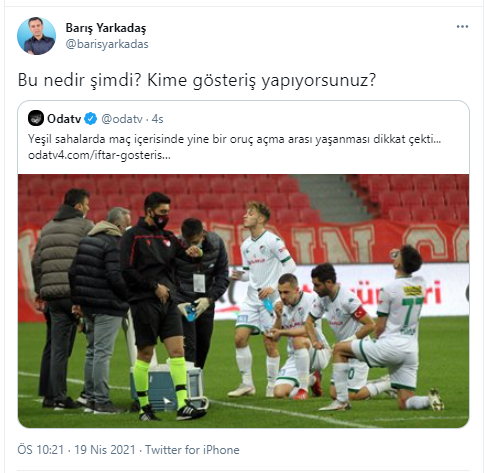 "Ajans Haber on Twitter: ""CHP'li Barış Yarkadaş'ın iftar yapan futbolcuları 'gösteriş yapmakla' suçlayan paylaşımına tepki yağdı!… """