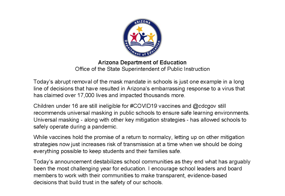 """.@DougDucey """"solved"""" the non-issue of vaccine passports & then lied about CDC guidance for K12 schools when rescinding the school mask mandate.   Meanwhile @Supt_Hoffman committed $21.3 million in mental health resources for students.   Who do you trust to care for AZ students? https://t.co/IPf7tLwAhI"""