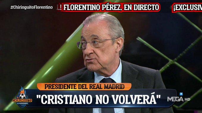 بيريز: كريستيانو لن يعود إلى ريال مدريد.