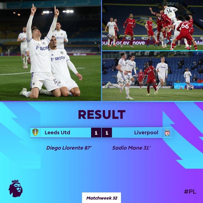 Hasil akhir Leeds United 1-1 Liverpool