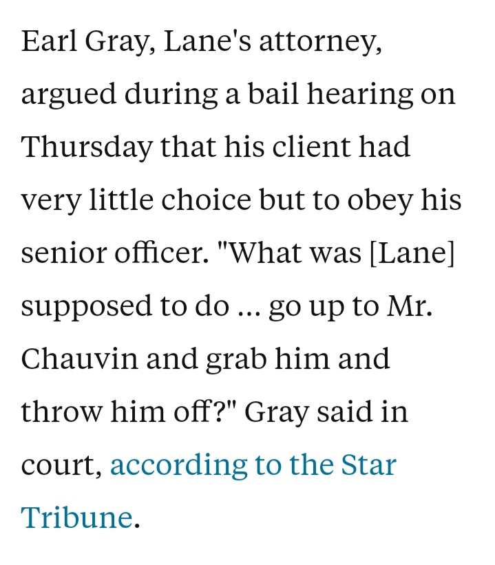 @Godmaid27Sharon @B52Malmet Yes, Lane should have grabbed Chauvin and thrown him off George Floyd's neck. https://t.co/IXvSFWt74a