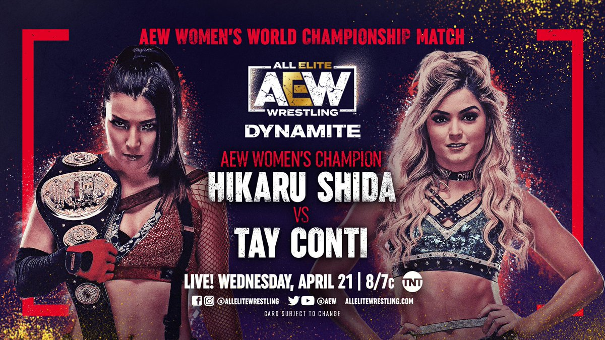 LIVE this Wednesday night at 8/7c on @tntdrama, the @AEW Women's World Championship will be defended when @shidahikaru faces the #1 ranked contender @TayConti_ Join us in Jacksonville @dailysplace by picking up tix at https://t.co/UN1cNj1kQq,or by watching Dynamite at 8pm on TNT! https://t.co/FKnPb431rx