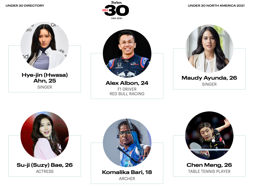 Maudy Ayunda di daftar Forbes 30 Under 30 Asia 2021 bersama penyanyi Mamamoo Hwasa dan Bae Suzy (Gambar via forbes.com)