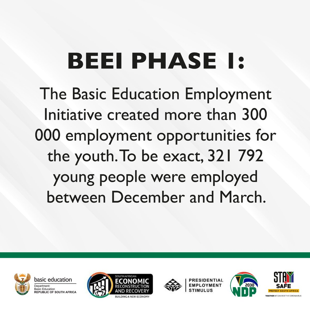 """Dep. Basic Education on Twitter: """"The first phase of the Basic Education  Employment Initiative was a success. The department employed more young  people than expected. #BEEI @ElijahMhlanga @ReginahMhaule @HubertMweli…  https://t.co/9WwMSzfcjB"""""""
