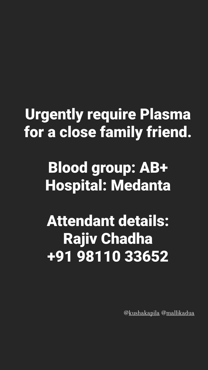 Looking for plasma on Gurgaon. If you know someone, please ask them to get in touch. Else, please please help amplify.  #PlasmaRequirement #COVID19India #Gurgaon @DC_Gurugram https://t.co/N1GDMQstK4