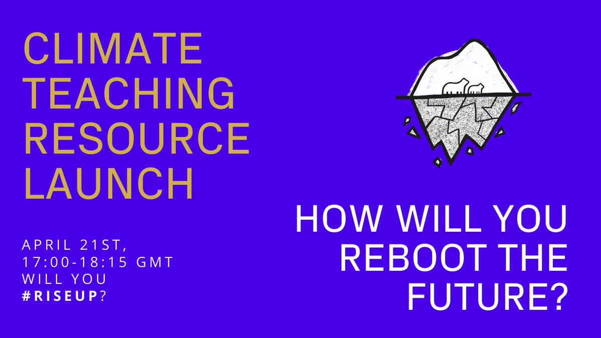 Don't miss it! 5-6:15 pm https://t.co/5cODHYyubZ How Will You #ReboottheFuture? is a campaign by @futurereboot to engage the young people's sense of optimism in climate action @becdove  @btkrth @Oscarbraine @QWend_UK1 @malvernkite @theAliceRoberts @globaldimension @geography_paul