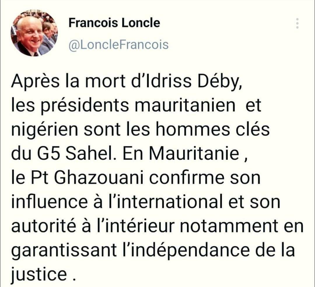 الفرنسيون يواصلون إشادتهم برئيس الجمهورية محمد ولد الشيخ الغزواني