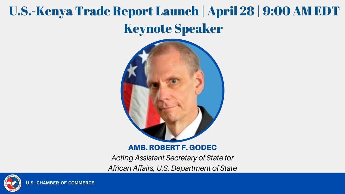 test Twitter Media - The @USChamber's @USChamberAfrica, @CovingtonLLP and @AmChamKE are pleased to announce @BobGodec, Acting Assistant Secretary of State for African Affairs, @StateDept our keynote speaker for the #USKenyaFTA2021 report launch. LAST CHANCE TO REGISTER AT https://t.co/IrZytTWVH6 https://t.co/n4y7J5sSN1