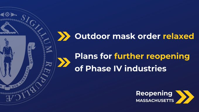 """MA News: """"Effective April 30, the outdoor mask order will be relaxed"""""""