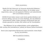 Image for the Tweet beginning: Verschiebung unseres ersten deutschen Webinars!