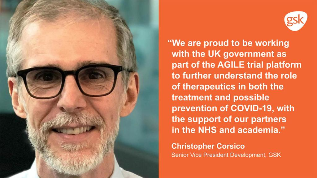 #News for #investors and #media: Together with @Vir_Biotech and @LivAgile, we're proud to announce the start of the latest AGILE trial of potential new treatments for #COVID19.  Learn more about GSK's contributions and solutions to the COVID-19 pandemic: https://t.co/Zd9pwVJGoM https://t.co/Pt1gZxaTOG