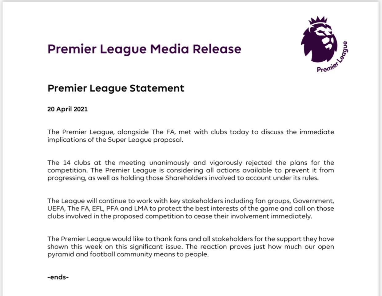 Eza4 jQUUAk6mzt?format=jpg&name=large - Premier League Release Statement On The Super League