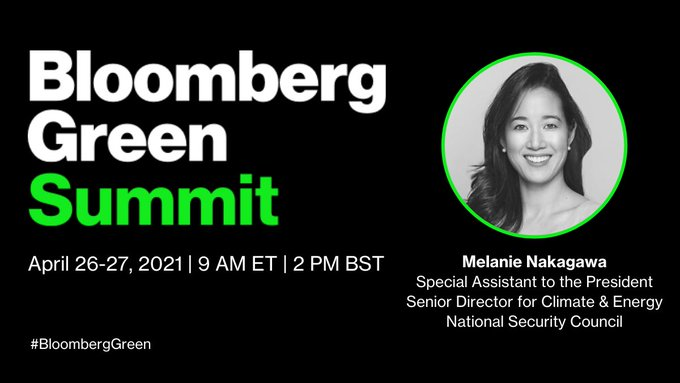 .@business' @johnfraher talks with Special Assistant to  @POTUS Melanie Nakagawa (@investinclimate) about their top climate priorities for 2021 at the #BloombergGreen Summit. https://t.co/xj60lfw3JL https://t.co/fKVmSKZees