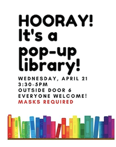 Outdoor library Wednesday, April 21, 3:30-5 GMS door <a target='_blank' href='http://search.twitter.com/search?q=6'><a target='_blank' href='https://twitter.com/hashtag/6?src=hash'>#6</a></a>. This is a good time to return books too! See you soon! <a target='_blank' href='https://t.co/l6MW2IzkcI'>https://t.co/l6MW2IzkcI</a>