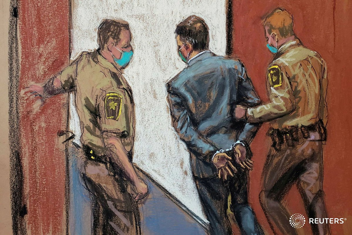 Former Minneapolis police officer Derek Chauvin is led away in handcuffs after a jury found him guilty on all counts in the murder of George Floyd in Minneapolis. Courtroom sketch by Jane Rosenberg