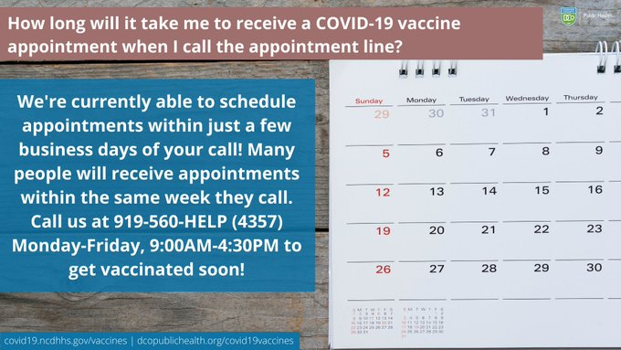 Image with calendar. Many people receive appointments the same week they call. Call (919) 560-4357 for scheduling, Monday through Friday, 9 a.m. to 4:30 p.m.