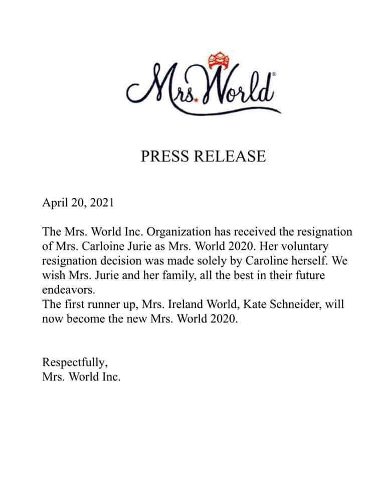 திருமதி உலக அழகி பட்டத்தை இழந்தார் கரோலின் ஜூரி-Caroline Jurie's Resignation Accepted By Mrs World Inc-New Winner is Kate Schneider