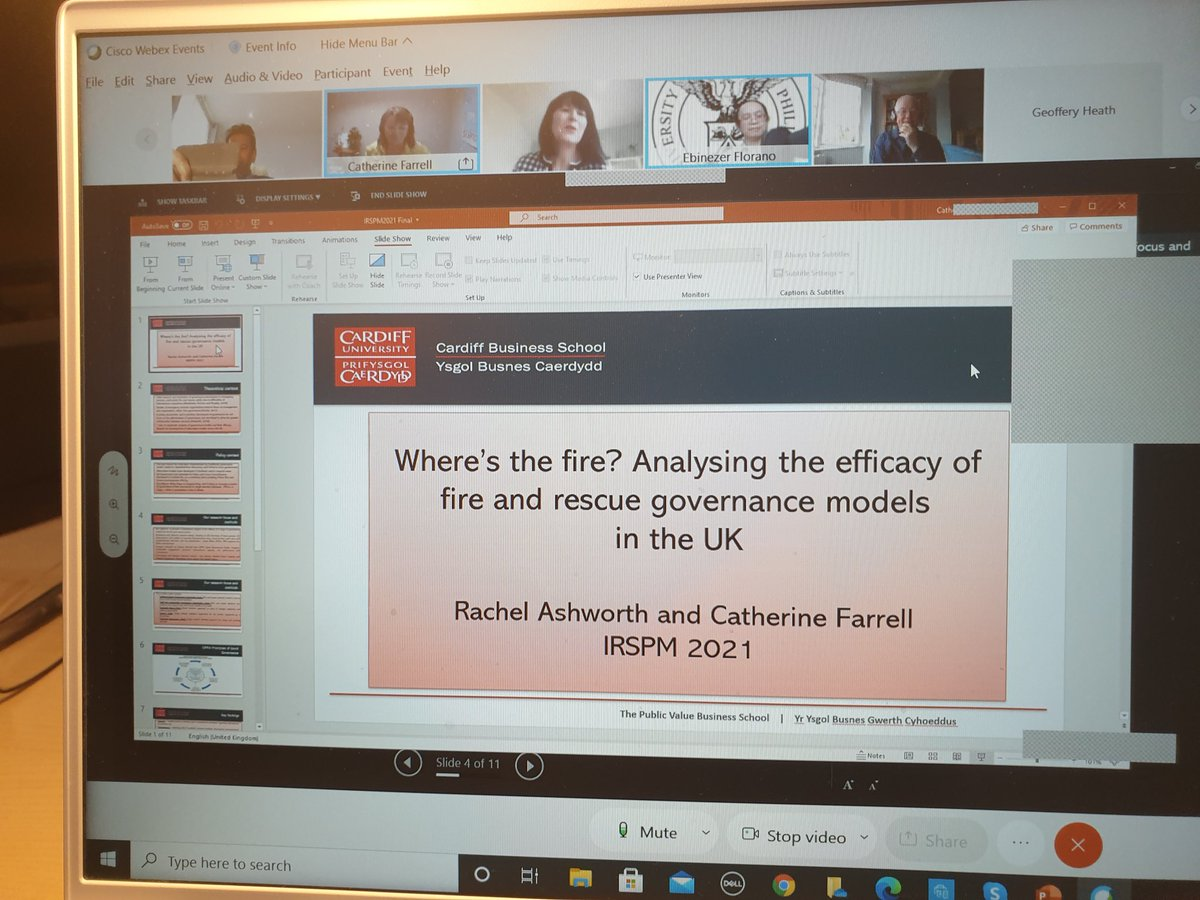 Our third paper by @rachcardiff and @CatherineFarre at Panel P07 @IRSPM 2021 explores the efficacy of governance issues in fire and rescue services in the UK.@EHU_Business
