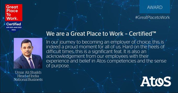 Atos in India is Great Place to Work - Certified™ by the Great Place...