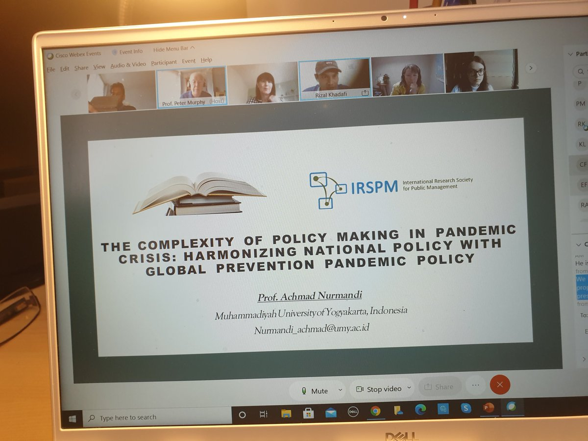 Our fourth paper by Prof. Normandi & colleagues at our second session of Panel P07 @IRSPM 2021 explores the complexities in harmonising global policy making process in dealing with global pandemic  crisis. @EHU_Business
