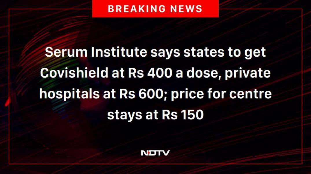 Can a spokesperson for the  @SerumInstIndia please help us understand why states should not get Covishield at the same price as the centre?? And if they have issued a statement citing reasons, could someone please share a link re the same. Thank you. https://t.co/J4jnuwBPBy