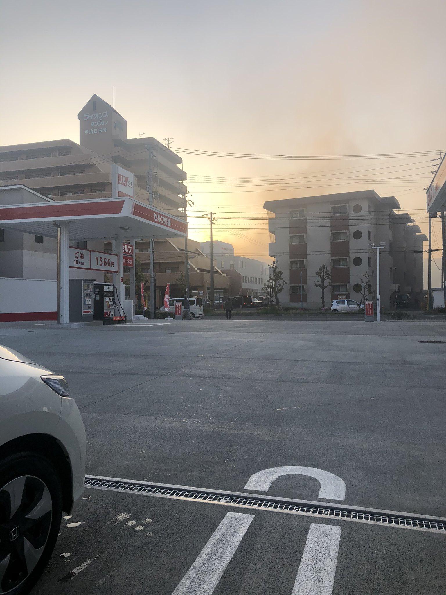 今治市宮下町で火事が起きている画像