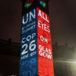 Image for the Tweet beginning: Last night, @theclimateclock illuminated Glasgow's