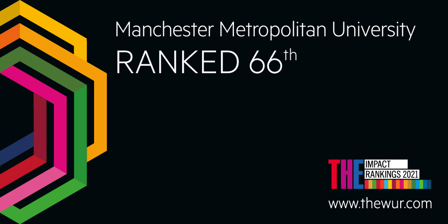 We're delighted to be named in the world top 100 of the Times Higher Education's (@timeshighered) Impact Rankings 2021 - ranking 66th globally in the league tables. Read more: https://t.co/3c7pgUvDYb. ♻️🎉  #THEGlobalImpact #McrMetProud https://t.co/YaMPOMUYq6