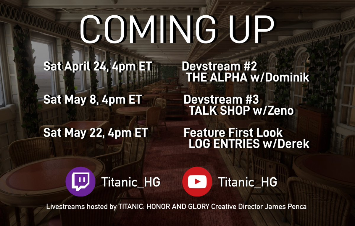 RT @TitanicHG_VDR: Our schedule for our next three livestreams! Save the dates! https://t.co/BSccpuSKBd