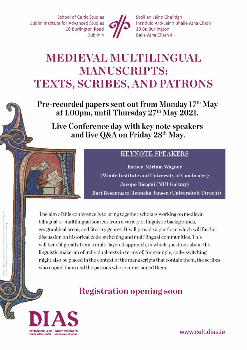 test Twitter Media - Medieval Multilingual Manuscripts Conference Registration opening soon.  Pre-recorded papers sent out from Mon 17th May at 1.00pm, until Thurs 27th May. Live Conference with key note speakers and live Q&A Friday 28th May.#MMM20 now #MMM21 #DIASdiscovers https://t.co/sk3UITLAn4 https://t.co/s8OgCwPj8e