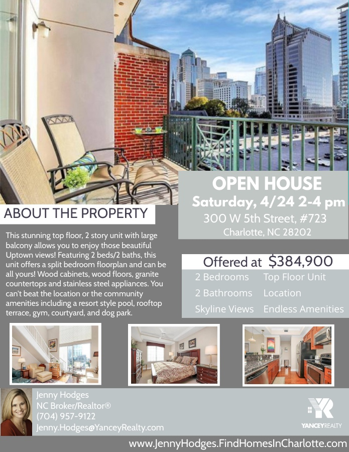 If you're looking for a #topfloor #condo in desirable #fifthandpoplar, make sure to check out Jenny's #openhouse this Sat!  Visit https://t.co/xyECy7NM4G for full listing details!  #charlottenc #uptown #uptownliving #yanceyrealty #ncrealtor #youcouldlivehere #primelocation #clt https://t.co/dp8pTx5Dpn