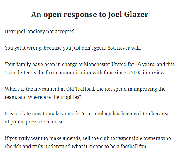 An open response to Joel Glazer's open letter  #GlazersOut https://t.co/5Kg1WDJusi