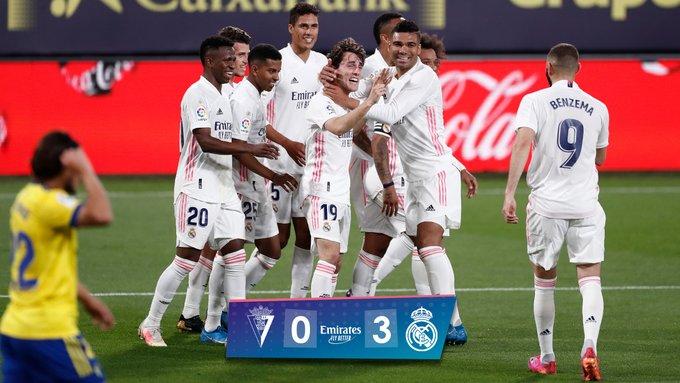 Skor akhir Cadiz 0-3 Real Madrid
