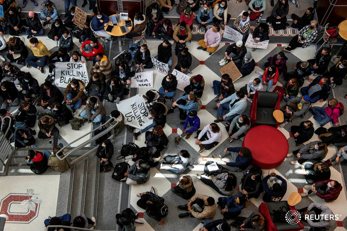 Ohio State University students hold a sit-in at the Ohio Union to demand that OSU sever ties with Columbus Police Department in the wake of the killing of 16-year-old Ma'Khia Bryant in Columbus. Photo by @gmorsephoto