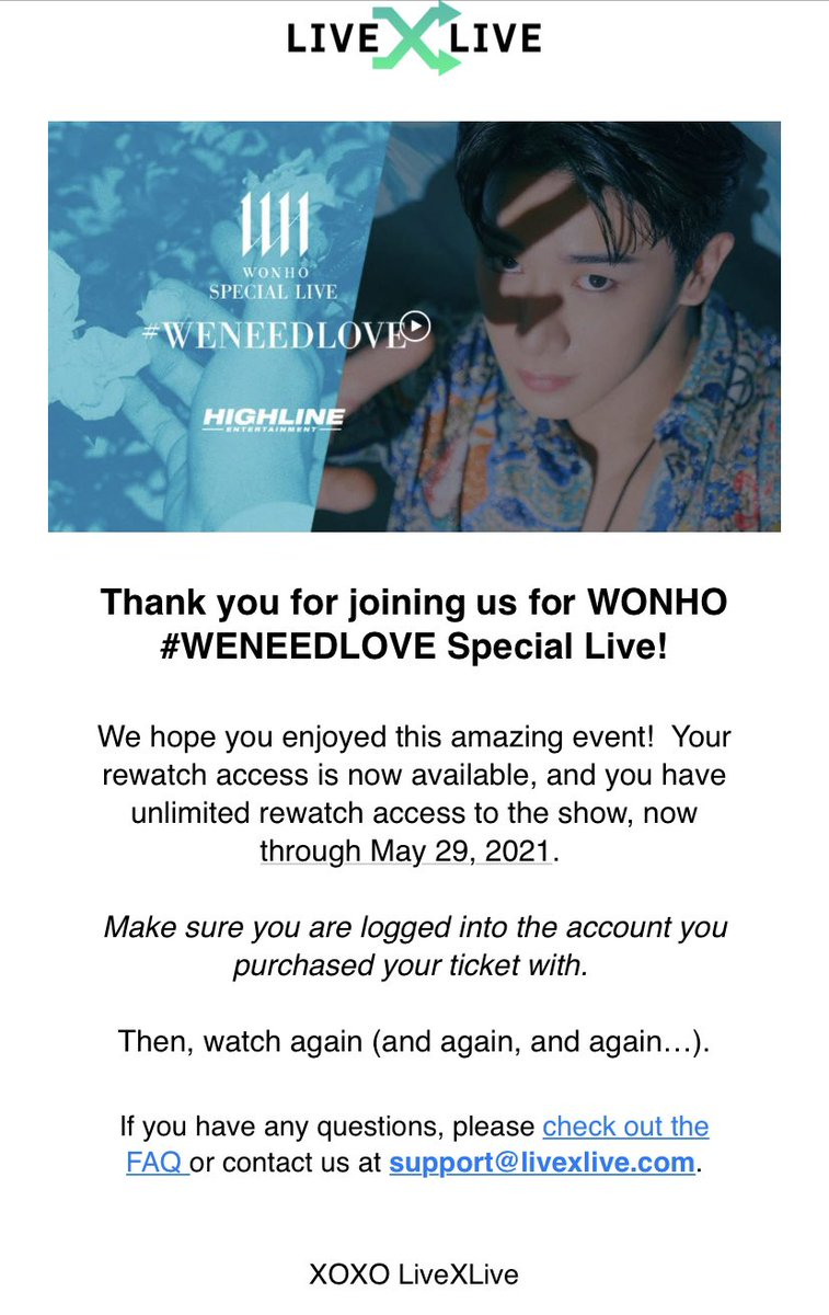 We have until May 29 to watch #WENEEDLOVE over and over and over ☺️ #WONHO @official__wonho  XOXO @livexlive 🥰 https://t.co/fZHbckmyS7