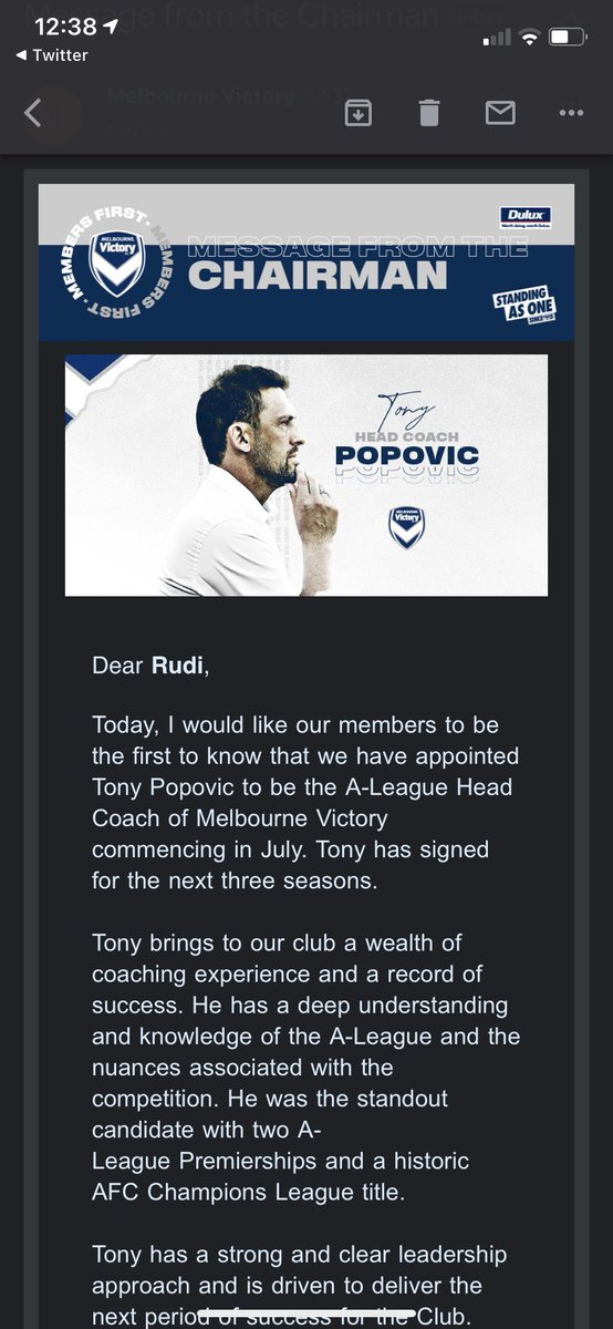 Well there you go. Popa taking the reigns at Melbourne Victory from July. https://t.co/66v5mHiYIJ