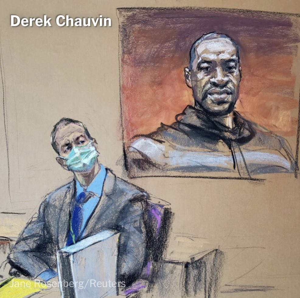 Jane Rosenberg usually sits in courtrooms as she sketches the highest-profile trials — Harvey Weinstein, El Chapo, Bill Cosby.  But bc of Covid, she sketched the Derek Chauvin trial from her apartment, which is now covered in pastel dust.   @lucytompkins2: