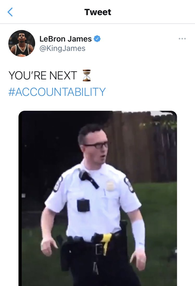 """LeBron James on Twitter: """"I'm so damn tired of seeing Black people killed  by police. I took the tweet down because its being used to create more hate  -This isn't about one"""