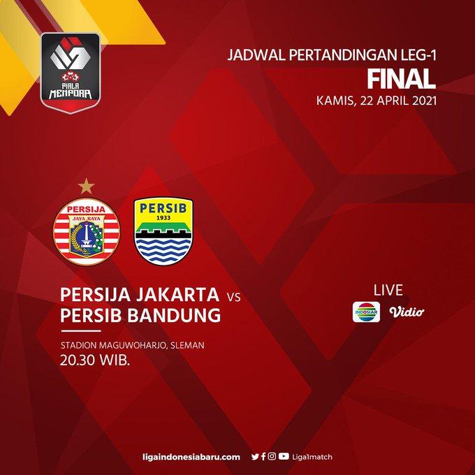 Final Piala Menpora 2021 Persija Jakarta vs Persib Bandung akan berlangsung pukl 20.30 WIB, live Indosiar