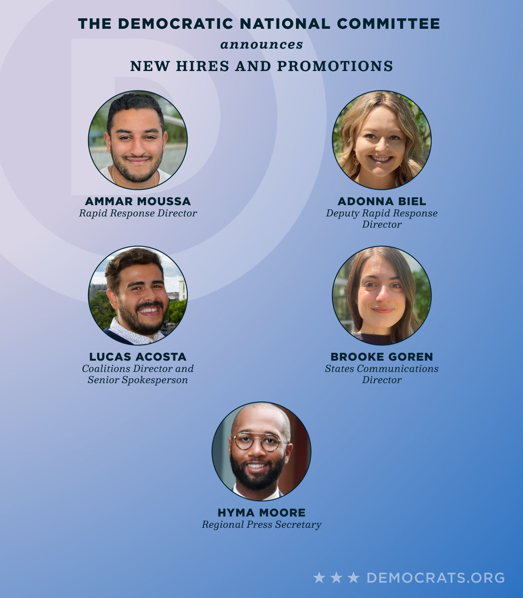 Our Communications Team is growing! Join us in congratulating our newest hires and promotions: @da_wessel, @Adonna_Biel, @BrookeGoren, @LucasRAcosta, @enriquegtzjr, @DPalder, @Hymamoore, @Cassidygeo, @ammarmufasa, and @Allyson_Bayless. https://t.co/FqpASIvgwv