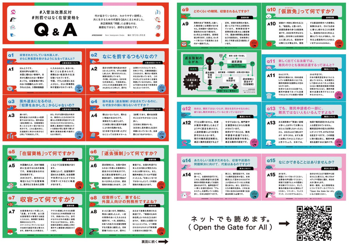 #FREEUSHIKU、Save Immigrant Osakaとウェブ広報を行なってきた。例えば入管法Q&Aの15問。難民認定されな...