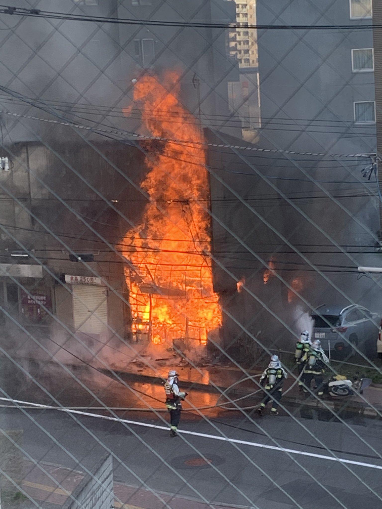 札幌市厚別区のラーメンの福八で火事の現場の画像