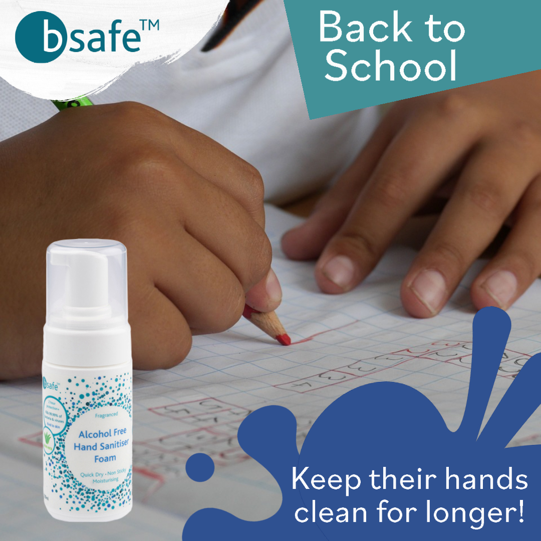 #backtoschool means it harder to keep an eye on your little one's cleanliness! Our #Bsafe range last for over 2 hours, meaning they are staying #sanatised for longer! #Alcoholfree #stayclean #safeforkids #madeinyorkshire