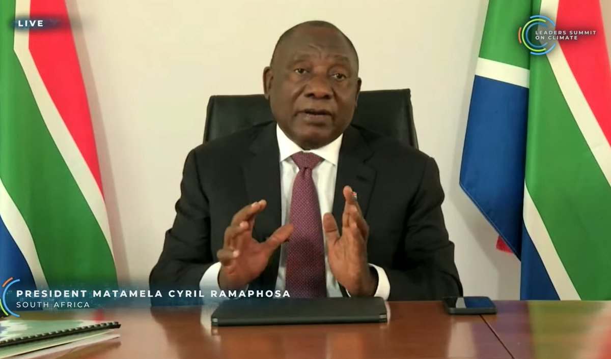 South African President RamaphosaThey are still updating their target range but it is alot more ambitious Now their emissions will peak in 2025 (10 yrs earlier) which is great because there old target was pretty broad.  #leadersclimatesummit