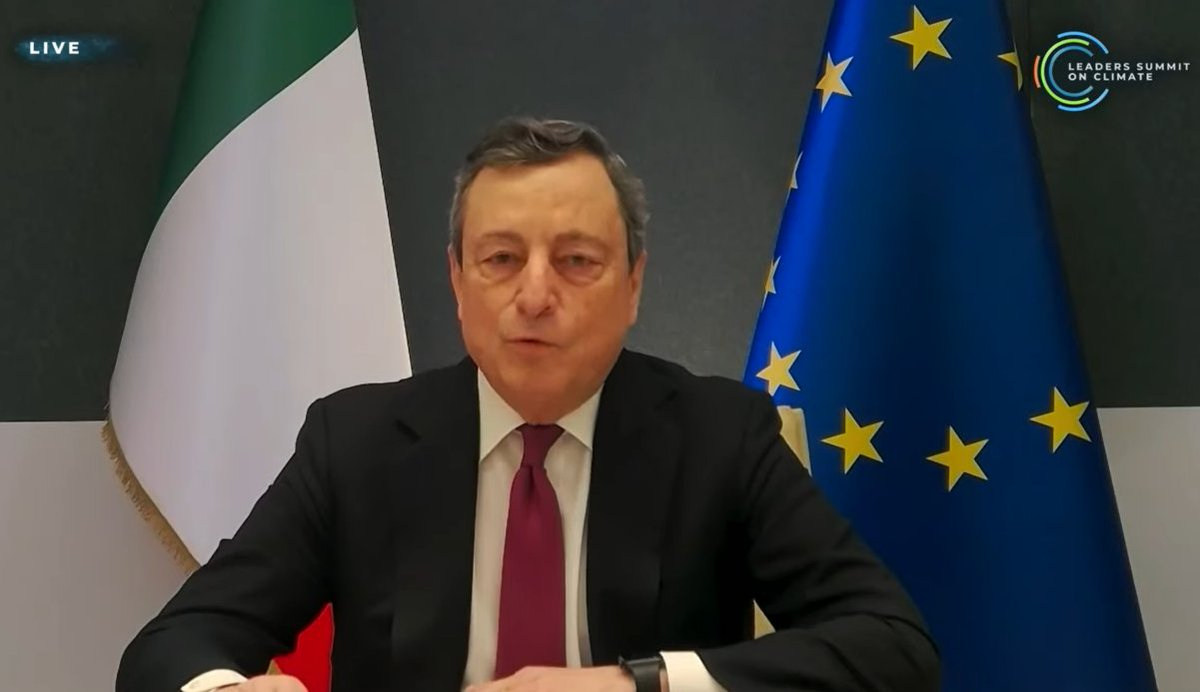 Italian leader Mario Draghi, host of G20 this year, which takes place a few days before COP26 in the UKNote EU adopted 55% cut by 2030 on 1990 levels. Great work. Giving EU airtime is to pat them on the back but not nec. Good example of how Aus has been pushed down the list.