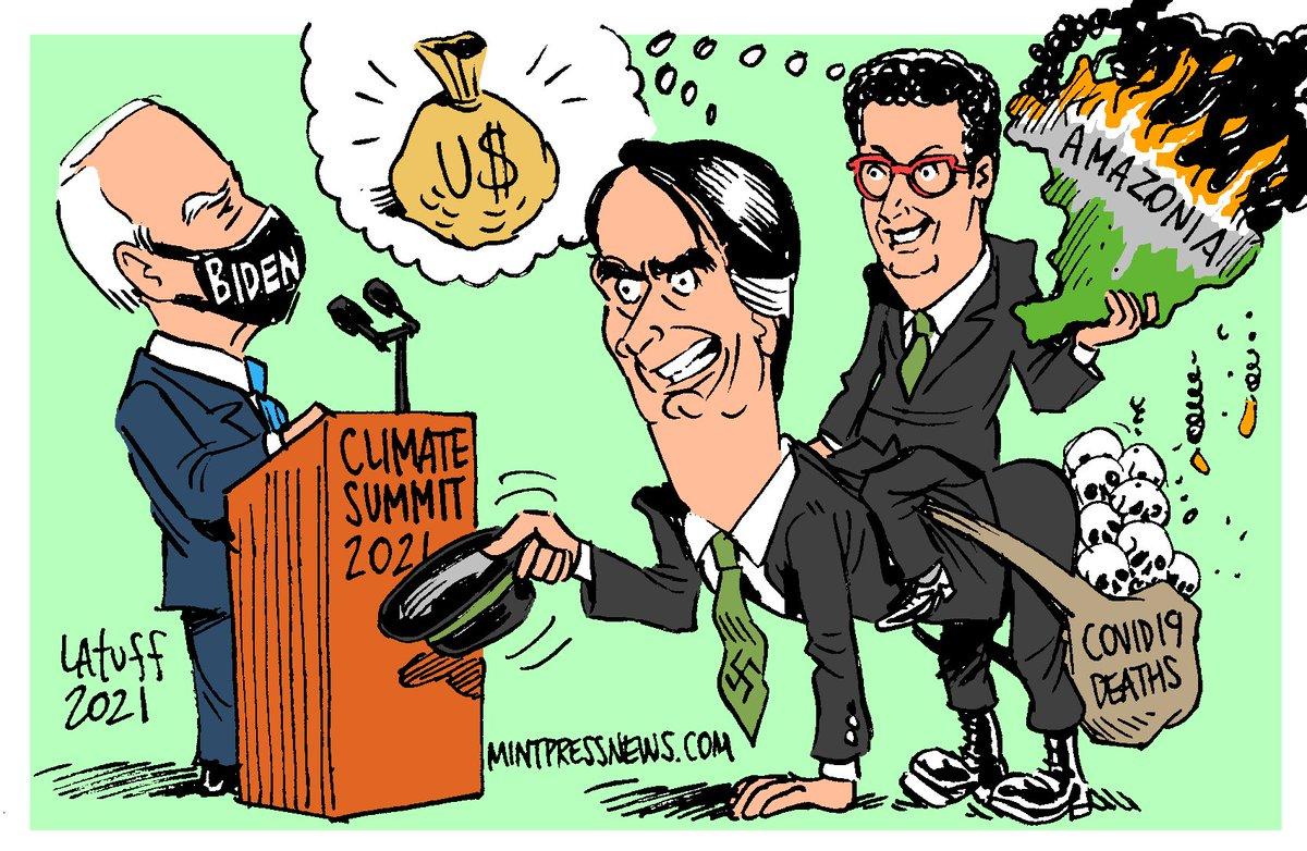 Political Cartoon featuring @JoeBiden , @jairbolsonaro, @rsallesmma and the #ClimateSummit by @LatuffCartoons for @MintPressNews  #Amazonia #coviddeaths #covid https://t.co/nb5BCMwWsx