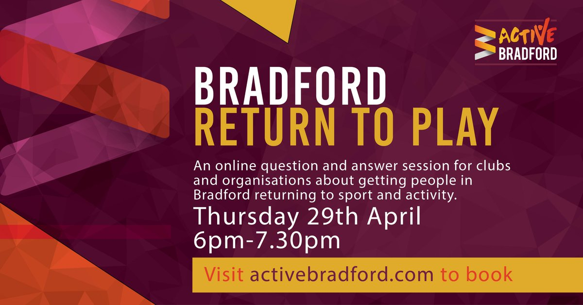 Do you have a question on the #ReturnToPlay for our panel?  Lee Maran (@WestRidingFA) Paul Evans, Sports Development Officer (@bradfordmdc) Sarah Moss (Community Action Bradford & District) Becca Gallagher (@YorkshireSport)  Book and submit your question https://t.co/mGmItCWWCZ