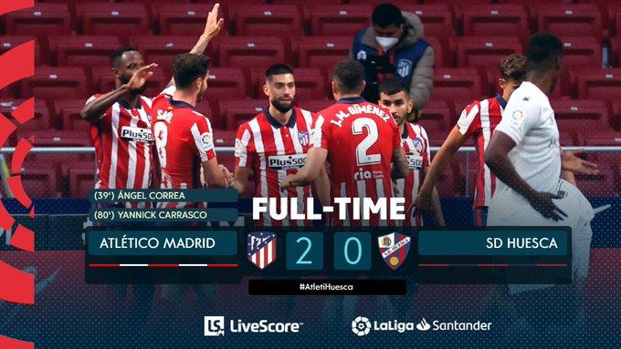 Skor akhir Atletico Madrid 2-0 Huesca
