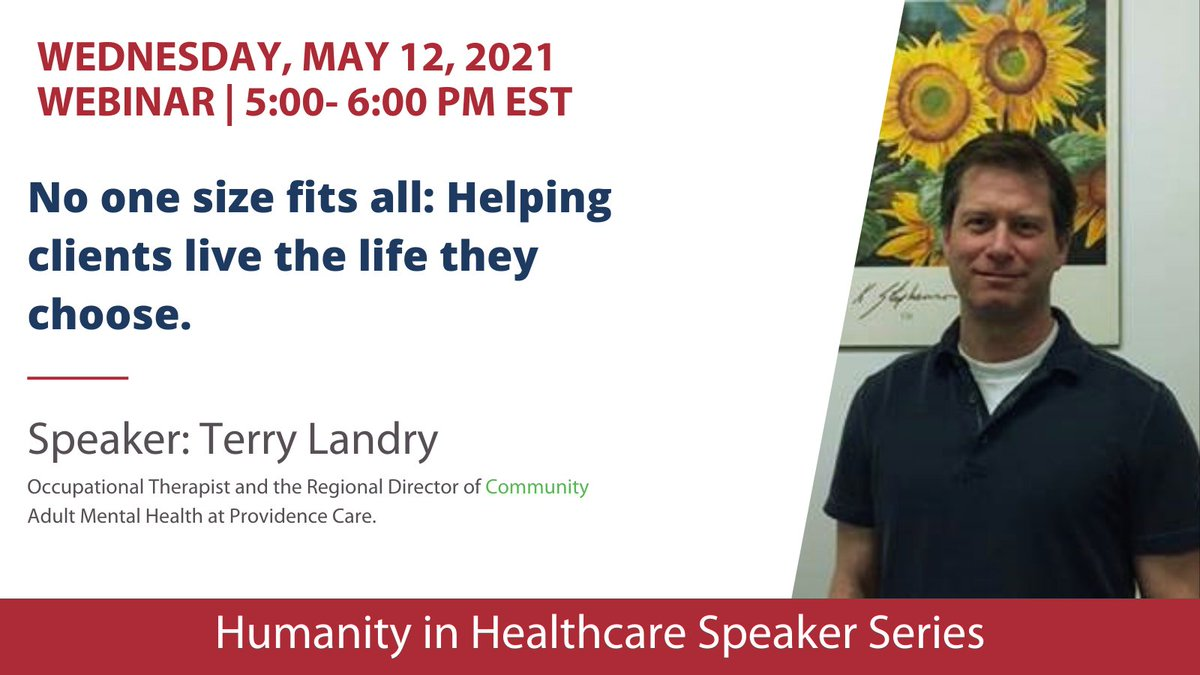 test Twitter Media - Check out our upcoming Humanity in Healthcare speaker session on May 12th (5-6pm EST). Terry Landry (OT) will be speaking about helping mental health clients live the life they choose. All are welcome. https://t.co/olnqt1jIuC https://t.co/q1hNQfInV1