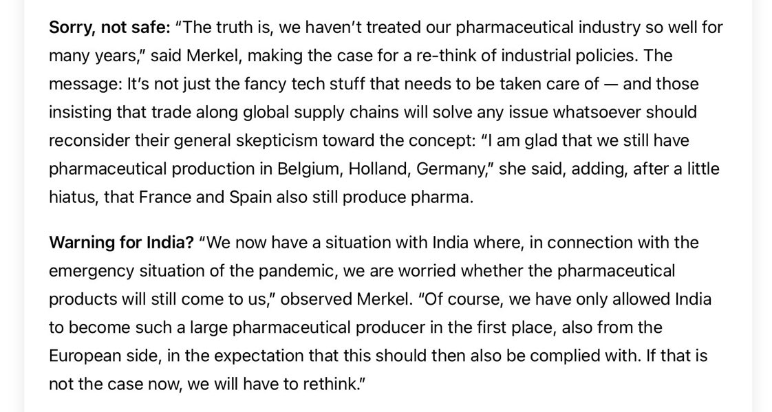 Angela Merkel's statement that Germany/West 'allowed' India to become a large pharmaceutical producer is extremely unfortunate and shortsighted. India is a rising power of 1.3 billion people who are hardworking and have aspirations. Merkel should have known better.  @CDUMerkel